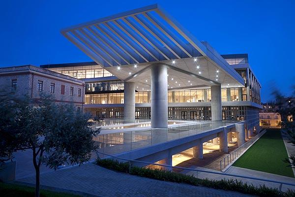 Night view of the museum, eastern facade. The New Acropolis  Museum  in Athens.