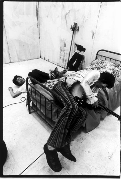"Mick Jagger, left, and Keith Richards messing around during the production of the music video for ""Respectable"" in New York in 1978."