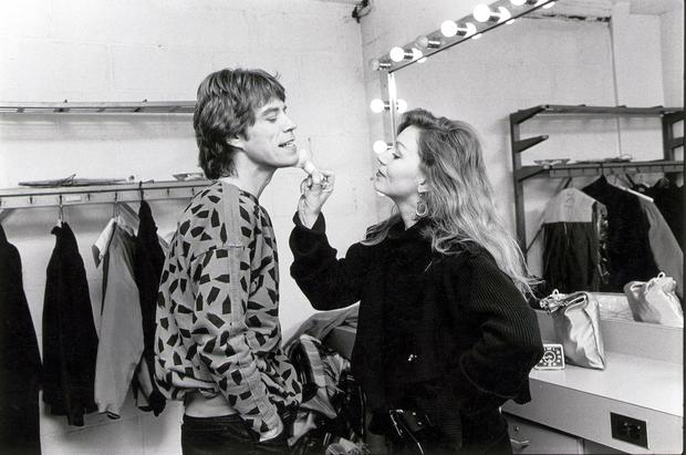 Mick Jagger receives makeup backstage in the United States on Feb. 2, 1984.