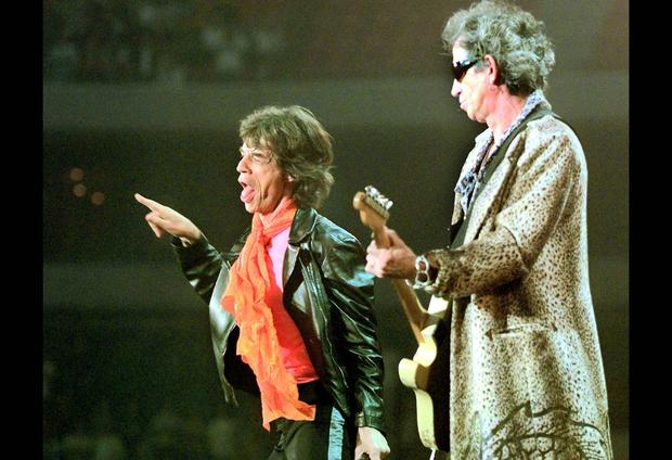 Mick Jagger, left, and Keith Richards perform in Amsterdam on March 30, 1990.