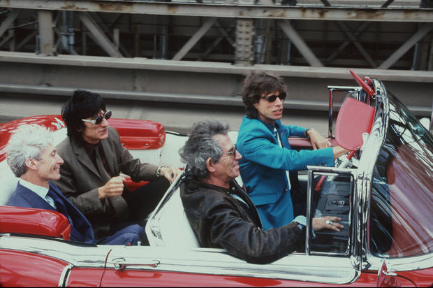 The Rolling Stones take a drive on Aug. 18, 1997.