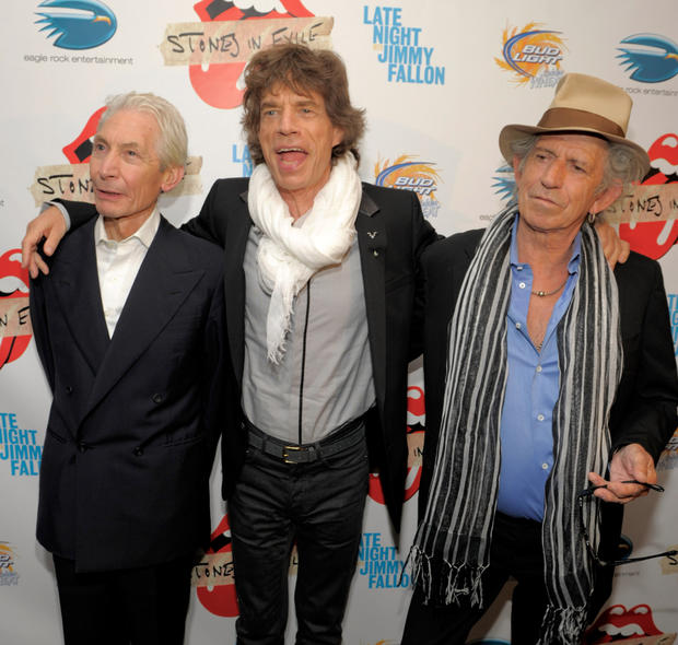 "Charlie Watts, Mick Jagger and Keith Richards attend the ""Stones in Exile"" documentary screening at the Museum of Modern Art on May 11, 2010, in New York City."