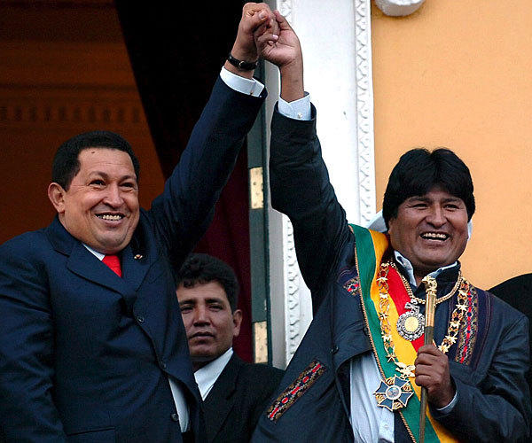 Chavez with Bolivian President Evo Morales, right, on the balcony of Bolivia's government palace after Morales was sworn into office in La Paz in January 2006.