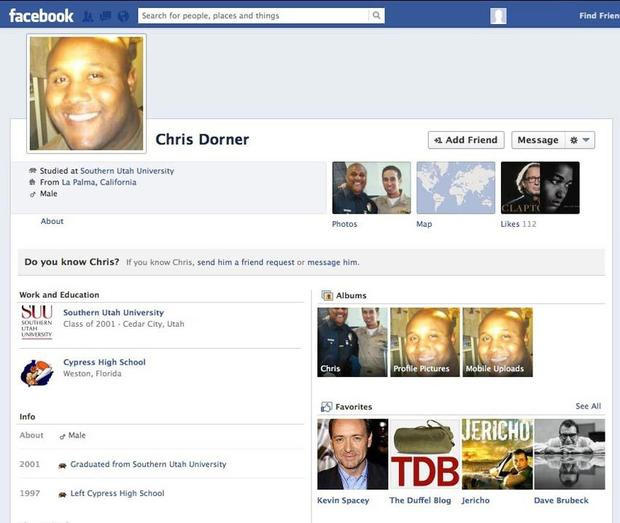 The top of what police believe to be Christoper Dorner's Facebook page.