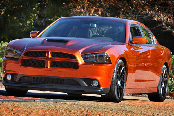 Dodge Charger Juice: While it may look like a fairly straightforward Charger, underneath the hood lies plenty of menace. The folks at Chrysler shoehorned in a 650-horsepower Viper V-10 crate motor and then complemented it with a host of Mopar parts including a cold-air intake, a cat-back exhaust, a lowering kit, front spoiler, prototype hood, a grille and 20-inch Mopar wheels.