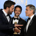 Ben Affleck, Grant Heslov and George Clooney, winners for best drama ('Argo')