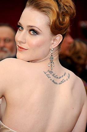 "Rachel Evan Wood lets her skin speak: ""All that we see or seem is but a dream within a dream."""