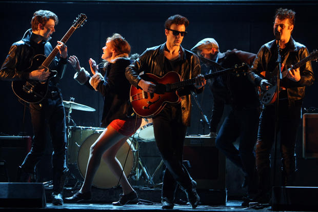 Daniel Westwick (George Harrison), left, Nick Blood (Stuart Sutcliffe) and Andrew Knott (John Lennon). The musical is about the early days of the Beatles and the story of Stuart Sutcliffe, who became known as the Fifth Beatle.