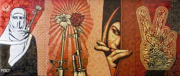 """Obey Middle East Mural""  (2009) is in the Boston Institute of Contemporary Art's exhibition ""Shepard Fairey: Supply and Demand."""