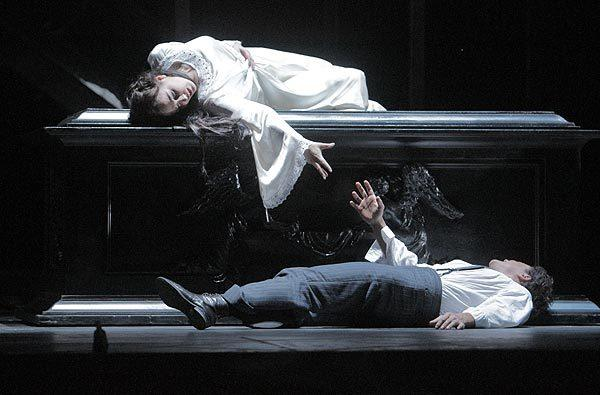 Nino Machaidze (Juliet) and Vittorio Grigolo (Romeo) in the lovers' death scene during a dress rehearsal at the Dorothy Chandler Pavilion.