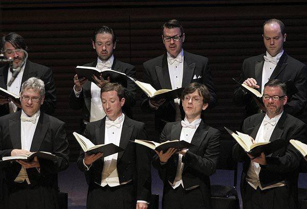 "Members of Philharmonia Chorale sing Handel's ""Messiah"" at Walt Disney Concert Hall."