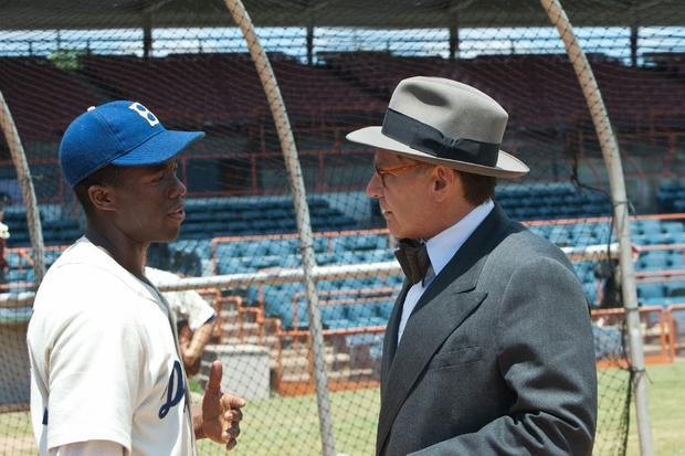 <b>The players:</b> Chadwick Boseman stars as Jackie Robinson and Harrison Ford plays Branch Rickey, the Dodgers general manager who signed the baseball player to the team. Rickey's great-granddaughter, Kelley Jakle, also has a small role in the film. <br><br> <b>How it changed the game:</b> Robinson, who wore number 42, is universally revered for breaking the color barrier in Major League Baseball in 1947.