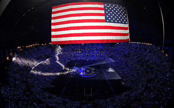 The U.S. flag shows prominently in an overview of the Mercedes-Benz Superdome in New Orleans.