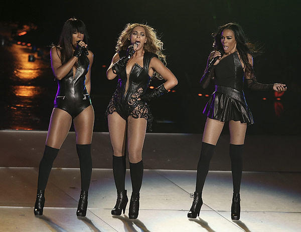 Destiny's Child reunites onstage during the Super Bowl's halftime show.