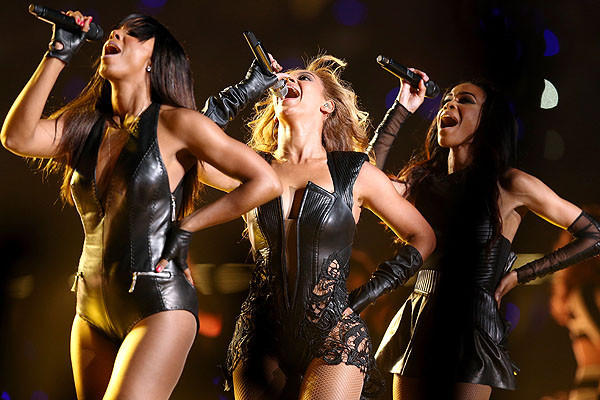 Kelly Rowland, Beyonce Knowles and Michelle Williams of Destinys Child perform during the Pepsi Super Bowl XLVII Halftime Show.