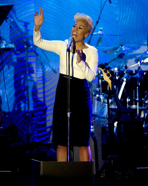 Emeli Sande, a UK singer whose first name is actually Adele, performs at the gala.