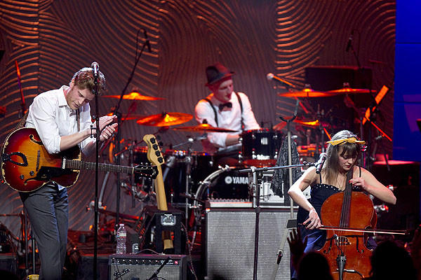 Grammy-nominated artists the Lumineers command the stage.