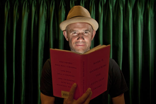 """Fear interests me,"" says famously hands-on writer Mark Z. Danielewski, who turned his ghost story ""The Fifty Year Sword"" into a Halloween night performance piece at REDCAT. <br><a href=""http://www.latimes.com/entertainment/arts/culture/la-et-cm-mark-danielewski-familiar-20121028,0,7907755.story""><b>More:</b> Mark Z. Danielewski: The writer as needle and thread</a>"