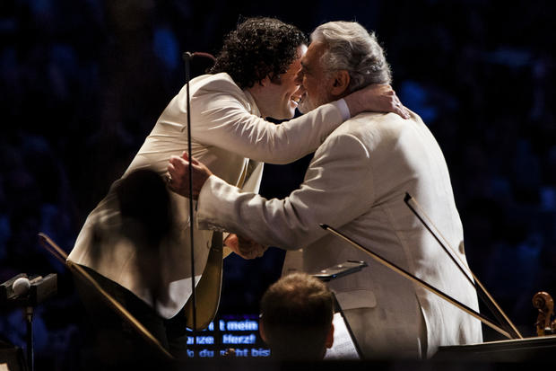 "Conductor Gustavo Dudamel and the L.A. Philharmonic were joined by tenor Placido Domingo and soprano Ana Maria Martinez at the Hollywood Bowl on Aug. 19, 2012.<br><a href=""http://www.latimes.com/entertainment/arts/culture/la-et-cm-dudamel-notebook-20121028,0,2102899.story""><b>More:</b> Gustavo Dudamel's captivating theatrics serve the music</a> 