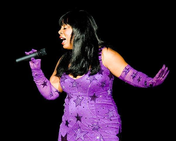 Donna Summer performs at the Bank of America Pavilion in Boston on July 12, 2008, as part of her tour to promote her recent CD Crayons.