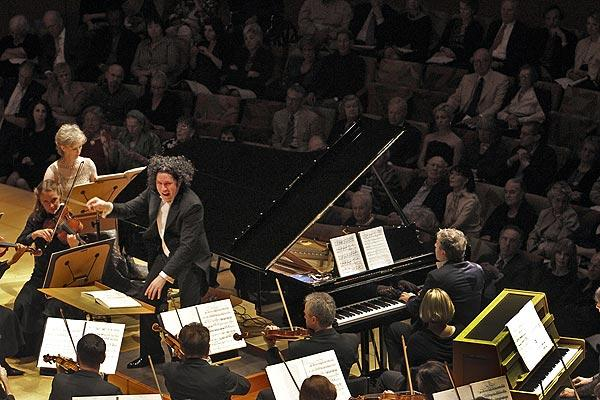 "Gustavo Dudamel conducts Olivier Messiaen's ""Turangalila"" on Thursday at Walt Disney Concert Hall, featuring soloist Jean-Yves Thibaudet at the piano and Cynthia Millar on the ondes martenot."