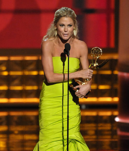 "Julie Bowen spent much of her time backstage extolling the virtues of Sofia Vergara, saying her costar inspired her to wear a form-fitting neon green fishtail dress. Plus, Bowen added: ""[Sofia] doesn't get the credit she deserves as an actress -- she gets it as a celebrity ... but only a few of us understand that what she does is not play herself.""<br> <br> As for those infamous nipple covers Bowen mentioned so many times during her speech, Bowen said she wanted to reference ""those little bits of rubber"" to get rid of some of ""the artifice"" of Hollywood.<br> <br> ""We don't pretend to be important in the way international events are,"" she said. ""But I love that Ann Romney and Michelle Obama said 'Modern Family' was their favorite show. That means our show is a place where people can sit on the couch and laughing is the only thing that matters."" <style type=""text/css"">