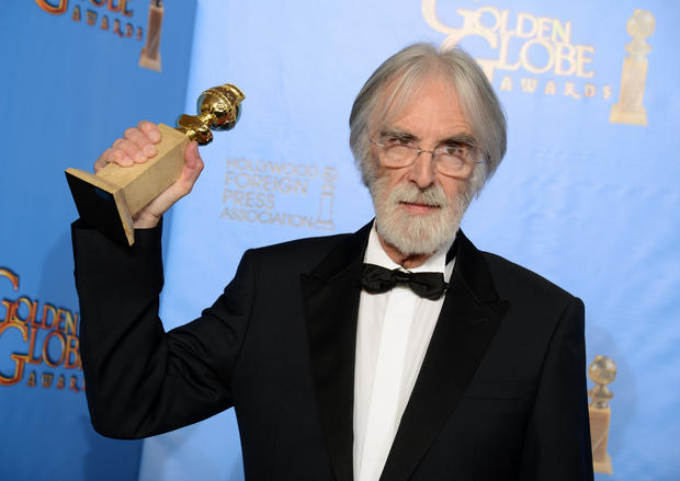 """I'm just a liiiittle bit excited but I feel stressed out from all the noise,"" said director Michael Haneke."