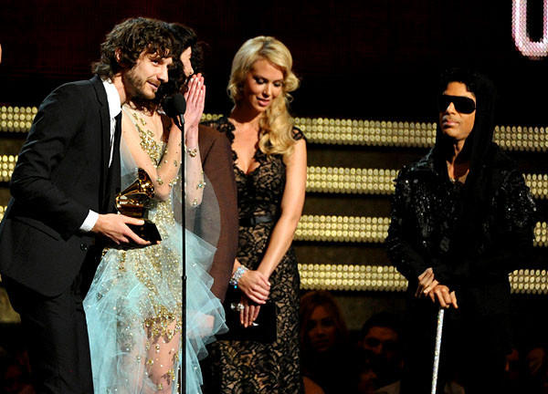 """I'm really at a loss for what to say after receiving an award from the man standing behind us with a cane,"" said Gotye, born Wally de Backer, referring to pop star Prince, who announced the category winner."