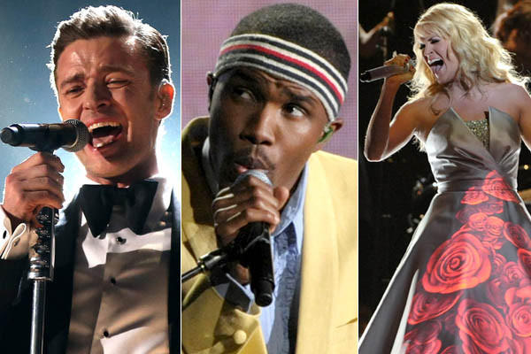 "Justin Timberlake, Frank Ocean, Carrie Underwood and dozens more performed during the 55th Grammy Awards show at the Staples Center in Los Angeles on Feb. 10, 2013. The quirky New York City band Fun. took the best new artist award, and song of the year for ""We Are Young."" Other winners announced during the star-studded event included folk act Mumford & Sons, for album of the year (""Babel""), and Gotye for record of the year (""Somebody That I Used to Know""). Here are some highlights from the show."
