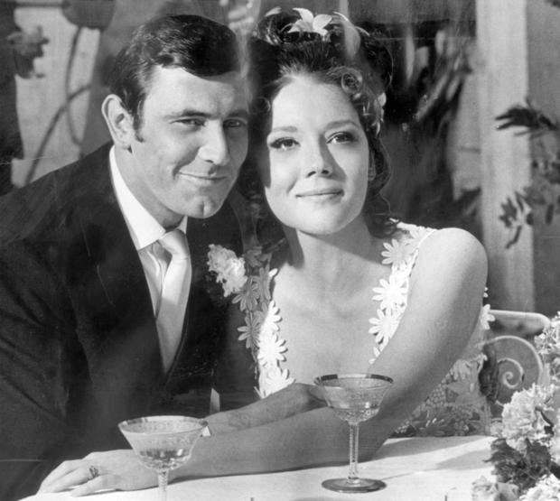 George Lazenby as James bond and Diana Rigg as Mrs. Bond in 1969 film 'On Her Majesty's Secret Service.'