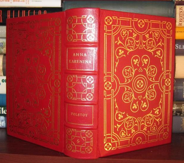 "This 1975 edition of ""Anna Karenina"" is bound in leather and 22-karat gold. It is being sold by the Rare Book Cellar in New York for $220."