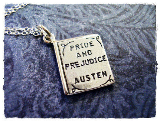 "The sterling silver ""Pride and Prejudice"" on this necklace is tiny, only about half an inch. (<a href=""http://www.etsy.com/listing/79078684/tiny-pride-prejudice-by-jane-austen"">Etsy, $25</a>)"