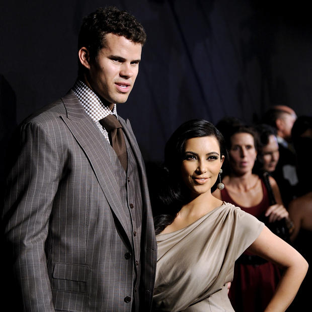 "Kim Kardashian and Kris Humphries met while the reality star was living in New York filming her show. The two were <a href=""http://latimesblogs.latimes.com/gossip/2011/05/kim-kardashian-engaged-kris-humphries-ring-married-people.html"">engaged</a> after a sixth-month courtship and promptly divorced after only 72 days of marriage. Kardashian pulled out all the stops for her black-and-white fete including an E! fairytale wedding special, but her family and her brand took a major publicity hit when the relationship crumbled. The pair finally reached <a href=""http://www.latimes.com/entertainment/gossip/la-et-mg-kim-kardashian-divorced-kris-humphries-20130419,0,4493854.story"">a divorce deal</a> in April 2013."