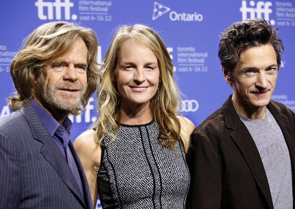 "William Macy, left, Helen Hunt  and John Hawkes star in ""The Sessions."""