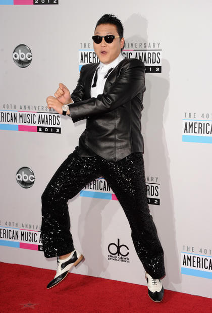 "Singer PSY goes ""Gangnam Style"" at the 40th American Music Awards."