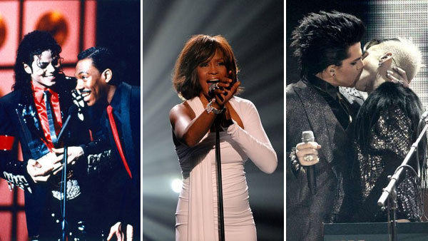 "Commercials for the upcoming American Music Awards feature a very simple tagline: ""Your playlist goes live."" <br><br>  The broadcast, which turns 40 this year, is better known for the spectacle it offers from more than a dozen performers than the actual trophies it hands out.  <br><br> While the Grammys bring prestige and the MTV Video Music Awards aim for zeitgeist, the AMAs are about showcasing the top of the charts, much like the show's creator, Dick Clark, did on his long-running variety show, ""American Bandstand.""  <br><br> Clark, who died in April, will be celebrated at Sunday's ceremony, which will also feature performances from Kelly Clarkson, Pink, No Doubt, Nicki Minaj, Justin Bieber, Christina Aguilera, Usher, Taylor Swift, Carrie Underwood and Chris Brown.  <br><br> Here we take a look back at some of the highlights from the past 40 years."