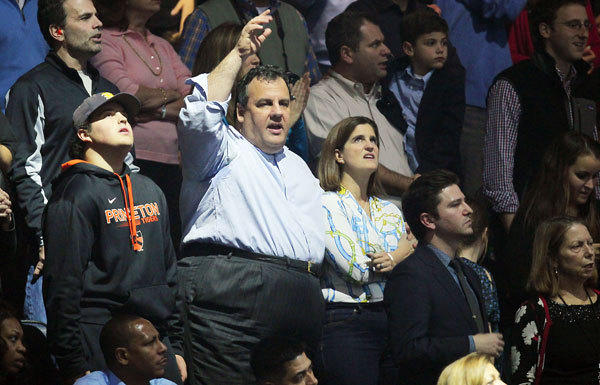 New Jersey Gov. Chris Christie attends the concert for Superstorm Sandy relief efforts.