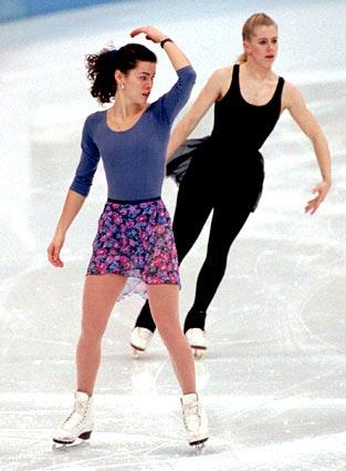 <b> Tonya attacks Nancy</b><br> <br> Tonya Harding, right, was banned from figure skating competitively after she and ex-husband Jeff Gillooly hired men to attack Nancy Kerrigan, left, at a practice session in 1994. Kerrigan was clubbed in the knee, preventing her from taking part in the Olympic trials. The United States Olympic Committee gave her a spot on the team all the same and the same year Kerrigan went on to win the silver medal in the Lillehammer Olympics.
