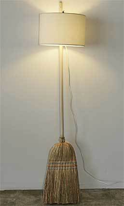 A broom is reconfigured into a lamp. By Rita Botelho.<br> <br> Retail price: $850.