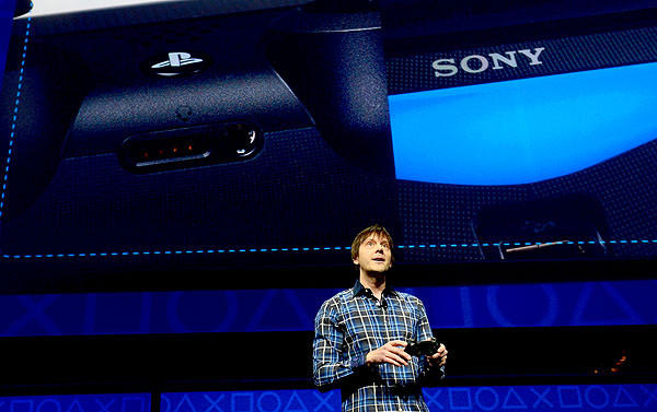 Video game designer Mark Cerny talks as Sony introduces the PlayStation 4.