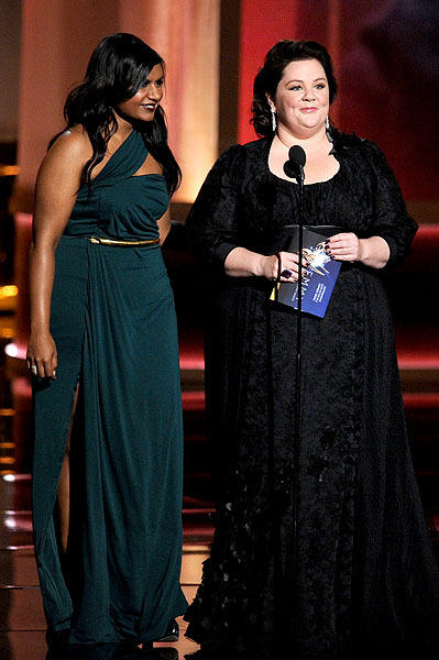 Presenters Mindy Kaling, left, and Melissa McCarthy.