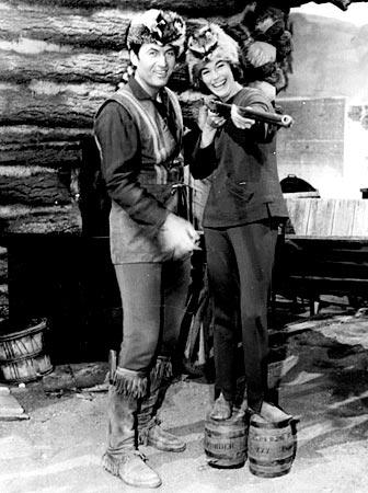 "Parker is seen in 1965 with Carol Lynton, his stand-in on ""Daniel Boone."" The TV series about another famous frontiersman had a successful run on NBC from 1964 to 1970."