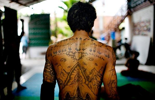 "tattoo on Tuy ""K.K."" Sobil spells ""Kampuchea,"" former name of ..."