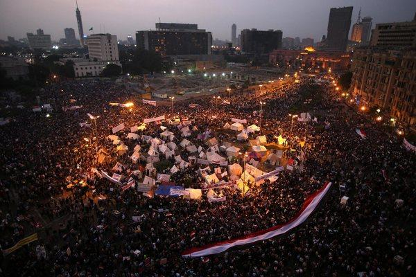 Protesters in Tahrir Square demonstrate against Egyptian President Mohamed Morsi's power grab.