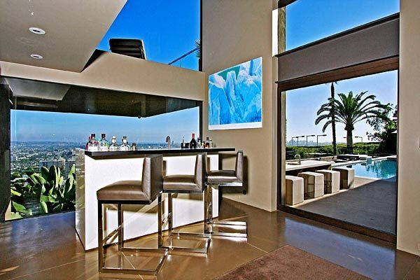 The bar in the contemporary home has views of the Los Angeles Basin.