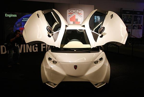 The Doking XD electric concept vehicle on display at the Los Angeles Auto Show.