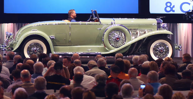 This 1933 Duesenberg Model J Disappearing-Top Convertible Coupe sold for $2,695,000 at Gooding & Co.'s 2013 Scottsdale Auction.