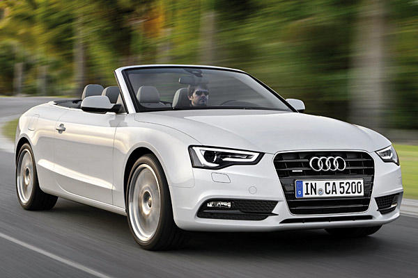 Starting the coupe lineup for Audi is its A5 coupe and convertible. It, too, gets a skin refresh for 2013 but uses the same 2.0-liter, turbocharged four-cylinder as before. Output stays the same at 211 horsepower and 258 pound-feet of torque. The A5 coupe gets standard quattro all-wheel drive and a six-speed manual transmission while the drop-top, seen here, gets a CVT with quattro serving as an option. An eight-speed automatic transmission is available on both A5s.