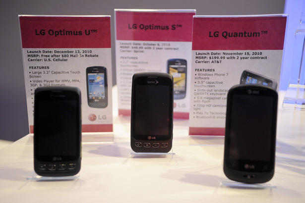 LG Electronics Inc. smart phones include the Optimus U, left, Optimus S and Quantum.
