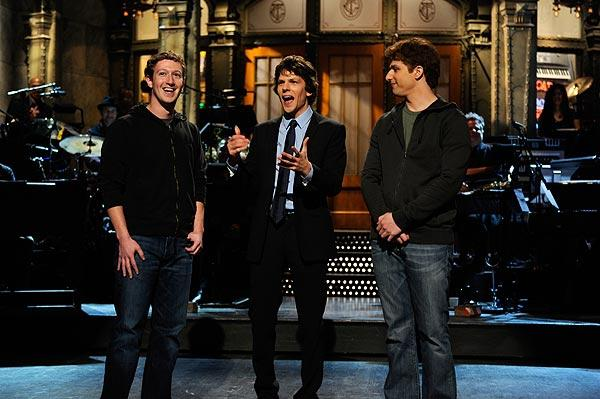 "Mark Zuckerberg, left, appears with host Jesse Eisenberg, center, on ""Saturday Night Live"" in January 2011. Eisenberg played Zuckerberg in the movie ""The Social Network."""